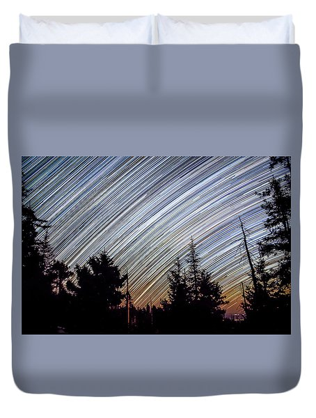 Star Trails From Mt. Graham Duvet Cover
