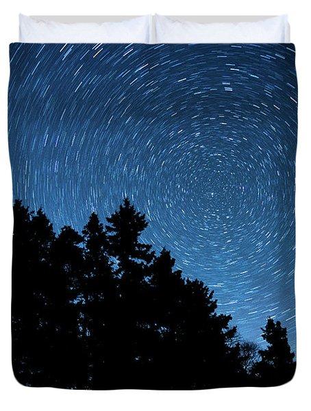 Star Trails In Acadia Duvet Cover