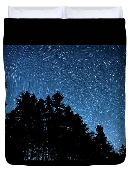 Star Trails In Acadia Duvet Cover