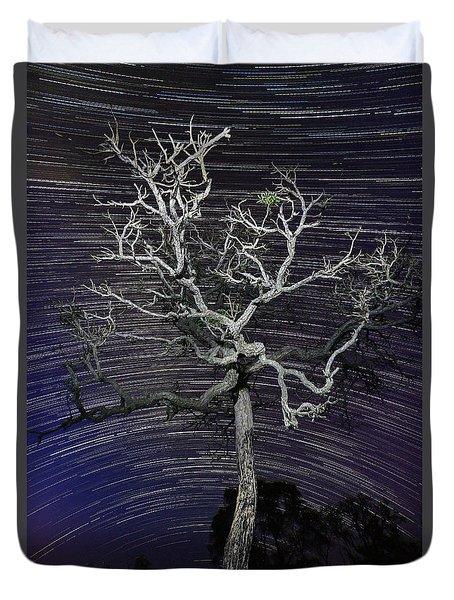 Duvet Cover featuring the photograph Star Trails In The Cerrado by Gabor Pozsgai