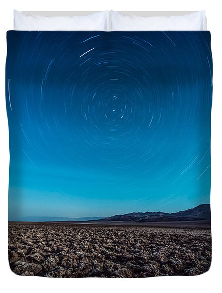 Star Trails In The Desert Duvet Cover