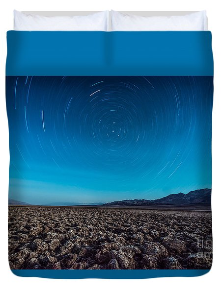 Star Trails In The Desert Duvet Cover