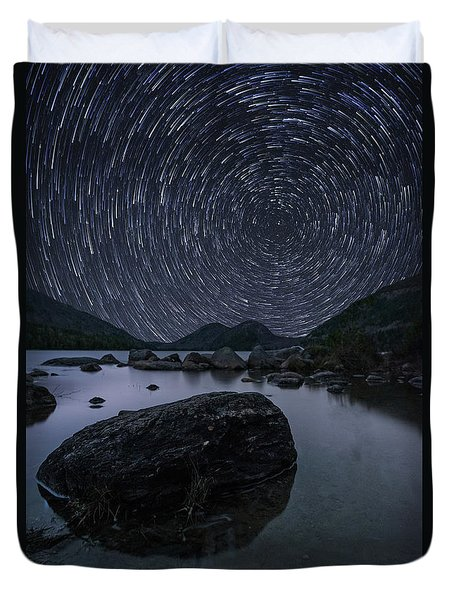 Star Trails Over Jordan Pond Duvet Cover