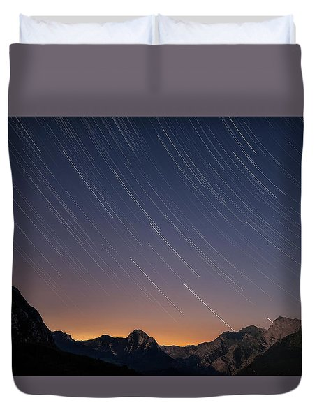Star Trails Over The Apuan Alps Duvet Cover