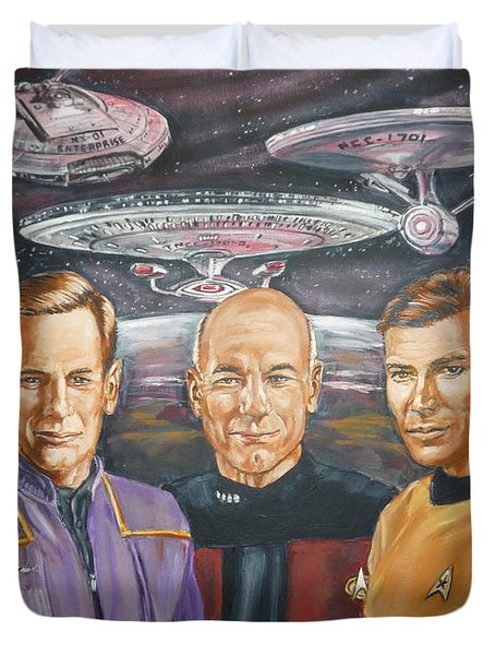 Duvet Cover featuring the painting Star Trek Tribute Enterprise Captains by Bryan Bustard