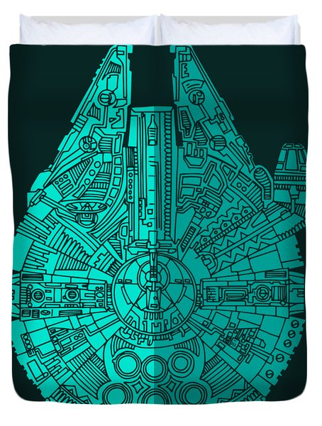 Star Wars Art - Millennium Falcon - Blue 02 Duvet Cover
