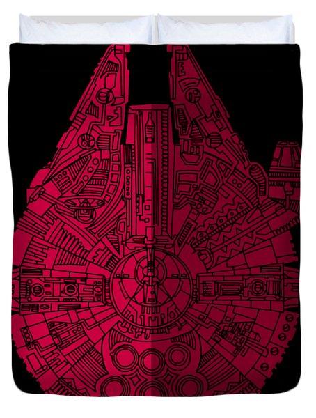 Star Wars Art - Millennium Falcon - Red, Black Duvet Cover