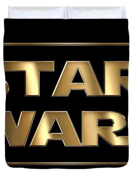 Star Wars Golden Typography On Black Duvet Cover