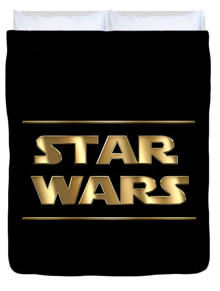 Star Wars Golden Typography On Black Duvet Cover