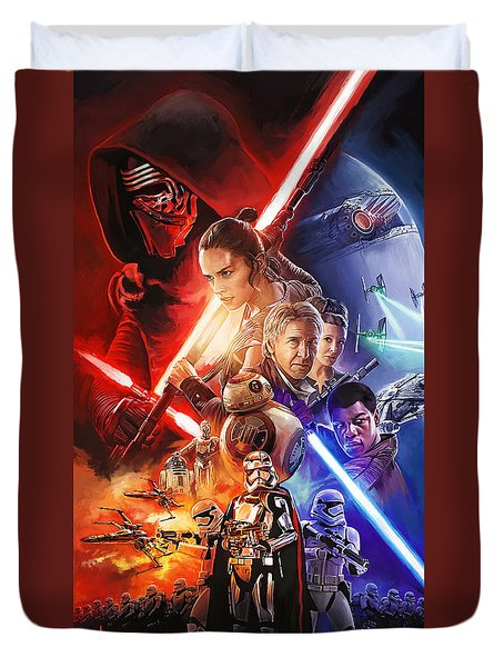 Duvet Cover featuring the painting Star Wars The Force Awakens Artwork by Sheraz A