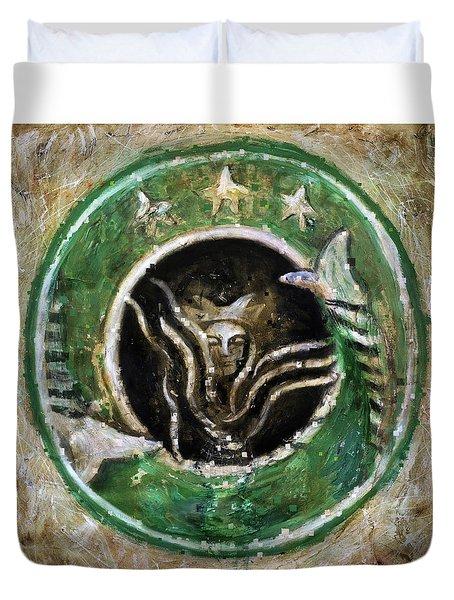 Starbucks Duvet Cover by Antonio Ortiz