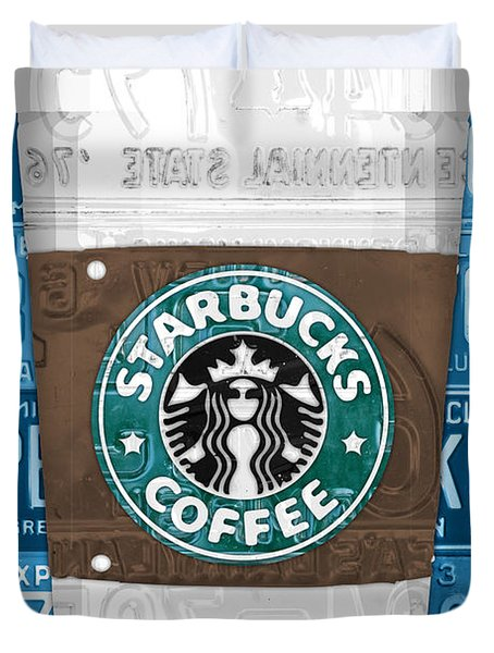 Starbucks Coffee Cup Recycled Vintage License Plate Pop Art Duvet Cover