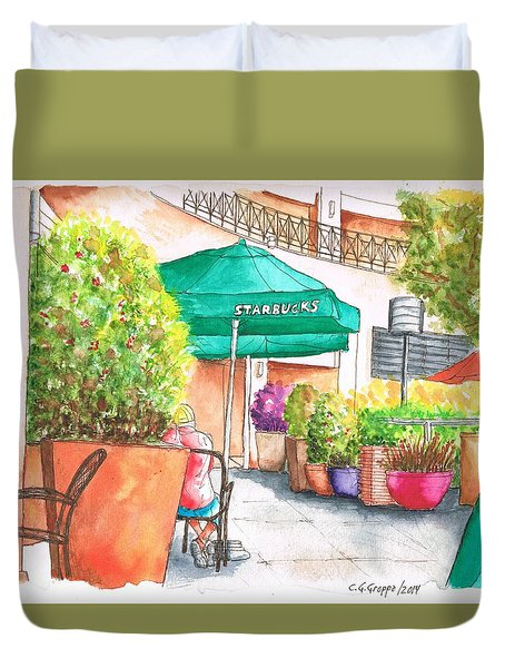 Starbucks Coffee, Sunset Blvd, And Cresent High, West Hollywood, Ca Duvet Cover