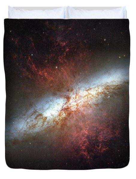 Starburst Galaxy, Messier 82 Duvet Cover by Stocktrek Images