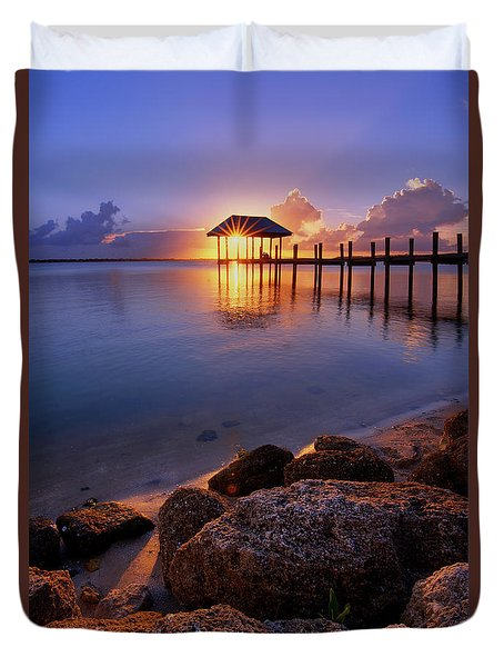 Starburst Sunset Over House Of Refuge Pier In Hutchinson Island At Jensen Beach, Fla Duvet Cover by Justin Kelefas