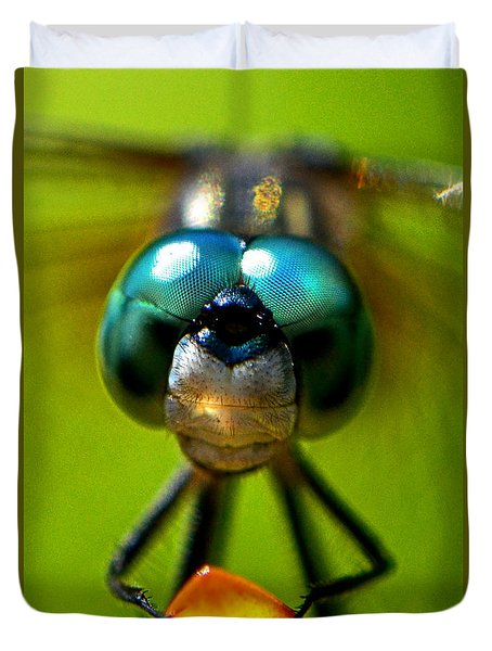 Stare Down With A Dragonfly 001 Duvet Cover by George Bostian
