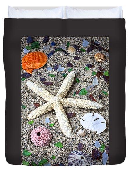 Starfish Beach Still Life Duvet Cover by Garry Gay