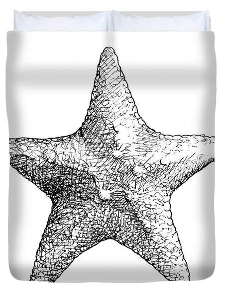 Coastal Starfish Drawing - Black And White Sea Star - Beach Decor - Nautical Art Duvet Cover