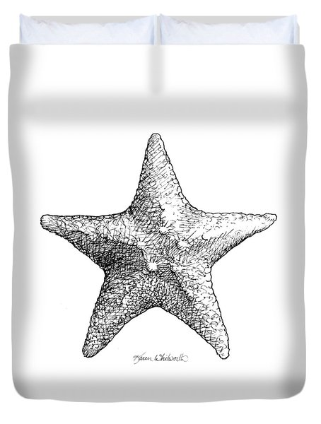 Duvet Cover featuring the drawing Starfish Drawing Black And White Sea Star by Karen Whitworth