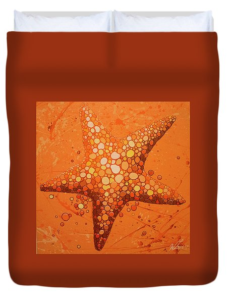 Duvet Cover featuring the painting Starfish In Coral by William Love