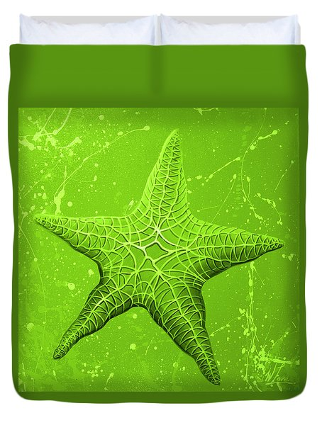 Duvet Cover featuring the painting Starfish In Green by William Love