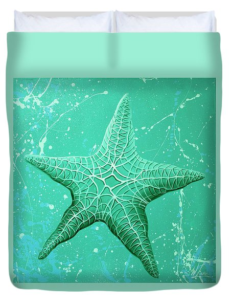 Duvet Cover featuring the painting Starfish In Teal by William Love