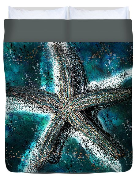 Starfish Ocean Deep Duvet Cover by Barbara Chichester