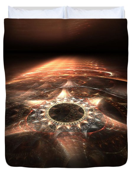 Duvet Cover featuring the digital art Stargate by Richard Ortolano
