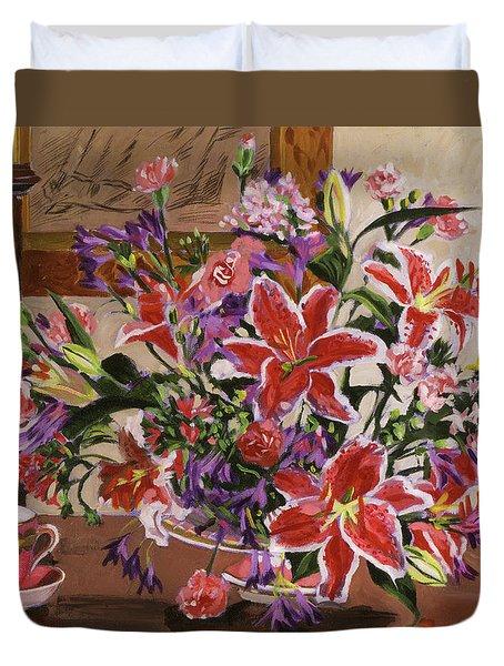Stargazer Lilies Duvet Cover