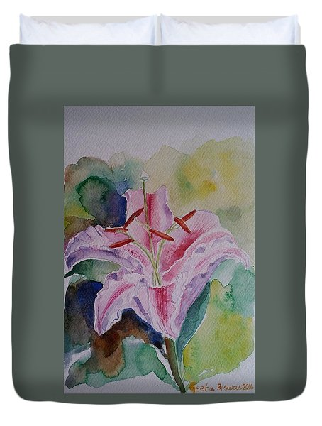 Duvet Cover featuring the painting Stargazer Lily Watercolor Still Life Gift  by Geeta Biswas