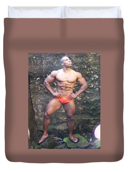 Duvet Cover featuring the photograph Stargazer  Male Muscle Art by Jake Hartz
