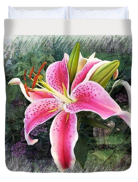 Stargazer Oriental Lily Duvet Cover