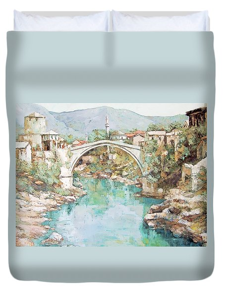 Stari Most Bridge Over The Neretva River In Mostar Bosnia Herzegovina Duvet Cover by Joseph Hendrix