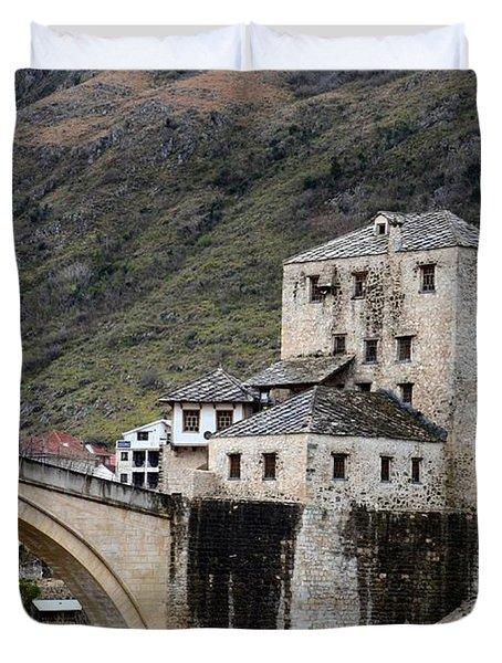Stari Most Ottoman Bridge And Embankment Fortification Mostar Bosnia Herzegovina Duvet Cover