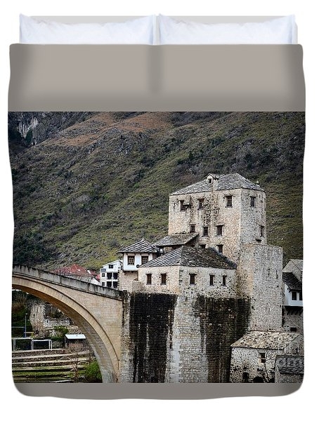 Stari Most Ottoman Bridge And Embankment Fortification Mostar Bosnia Herzegovina Duvet Cover