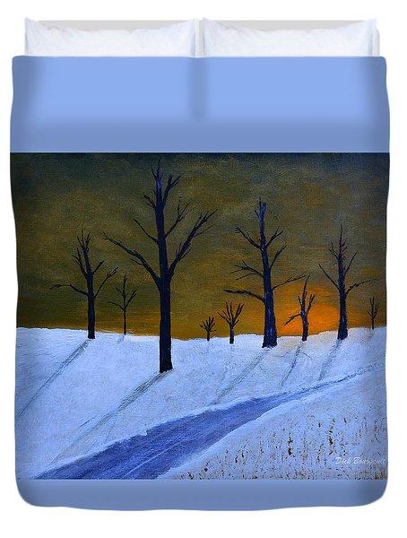 Stark Winter Sunset Duvet Cover