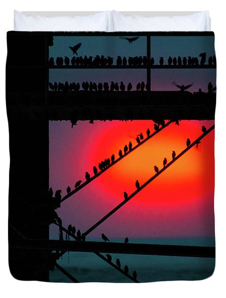 Starlings Against The Setting Sun Duvet Cover