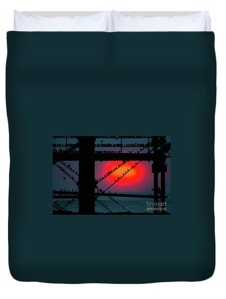 Starlings Against The Setting Sun Duvet Cover