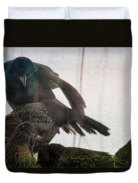 Starlings And The Grackle Duvet Cover by Ericamaxine Price