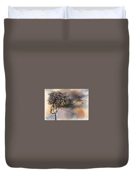 Starlings At Dusk Duvet Cover