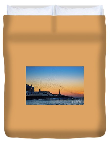 Starlings At Sunset In Aberystwyth Duvet Cover