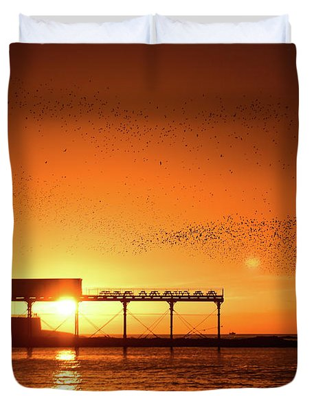 Starlings At Sunset Over Aberystwyth Pier Duvet Cover