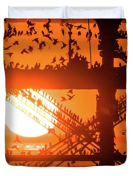 Starlings At Sunset Under Aberystwyth Pier Duvet Cover
