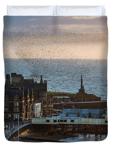 Starlings Over Aberystwyth On The West Wales Coast Duvet Cover
