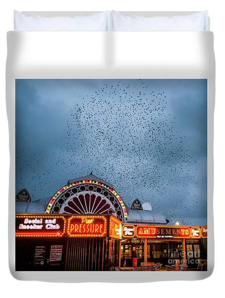 Starlings Over The Neon Lights Of Aberystwyth Pier Duvet Cover