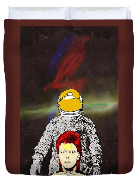 Duvet Cover featuring the drawing Starman Bowie by Jason Tricktop Matthews