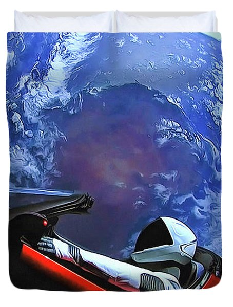 Starman In Tesla With Planet Earth Duvet Cover
