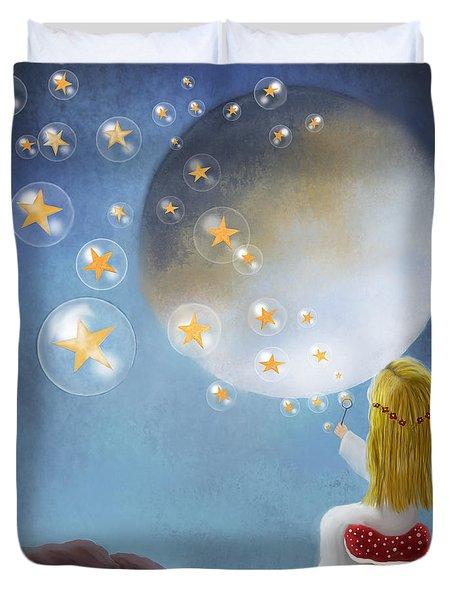 Starry Bubbles By Sannel Larson Duvet Cover