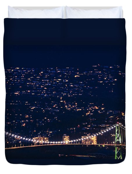 Duvet Cover featuring the photograph Starry Lions Gate Bridge - Mdxxxii By Amyn Nasser by Amyn Nasser