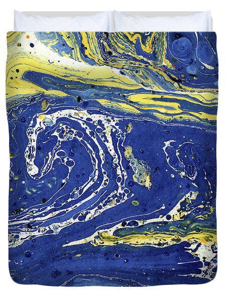 Duvet Cover featuring the painting Starry Night Abstract by Menega Sabidussi